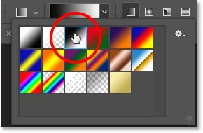 Choosing the Black, White gradient from the Gradient Picker in Photoshop