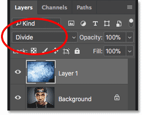 Changing the layer blend mode to Divide in Photoshop