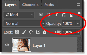 The Opacity option in the Layers panel in Photoshop