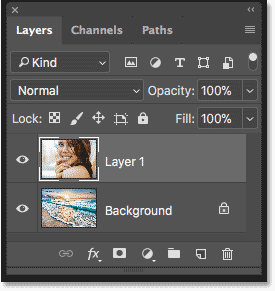 The Layers panel in Photoshop showing each image on a separate layer