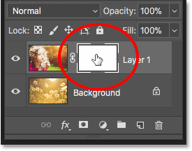 Selecting the layer mask in the Layers panel in Photoshop