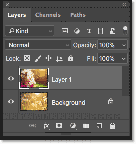 The Layers panel in Photoshop showing each photo on a separate layer