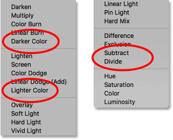 Photoshop's four layer blend modes without keyboard shortcuts