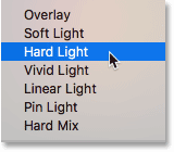 Choosing a third blend mode from the Photoshop Layers panel