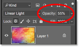 Lowering the layer opacity from the keyboard in Photoshop