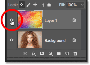 Making the top image visible in the Photoshop Layers panel