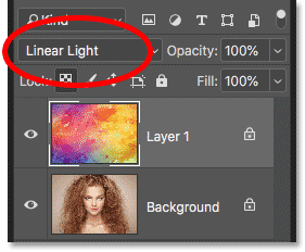 Selecting the Linear Light blend mode using the keyboard shortcut in Photoshop