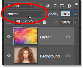 Clicking the Blend Mode option in the Photoshop Layers panel