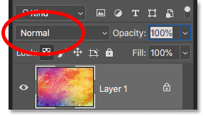 Setting the blend mode back to Normal in Photoshop