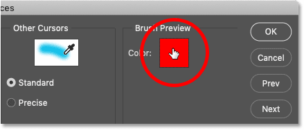 How to choose a new HUD Brush Preview color in Photoshop
