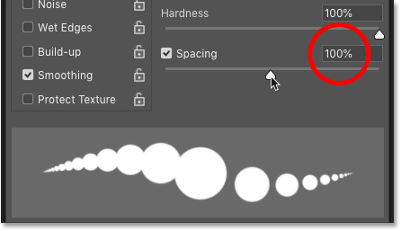 Increasing the Spacing value for the Brush Tool in Photoshop