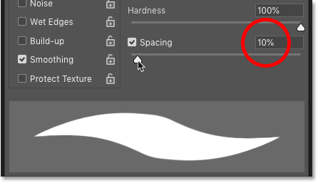 Lowering the Spacing for Photoshop's Brush Tool to 10 percent for smoother strokes.