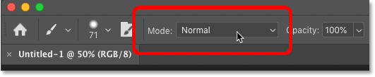 Where to find the Brush Tool blend modes in Photoshop