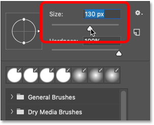 Changing the brush size from the Brush Preset Picker in Photoshop