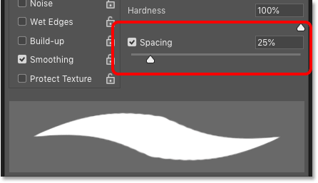 The default Spacing value for the brush stroke in Photoshop