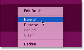 Setting the Brush Tool blend mode back to Normal in Photoshop