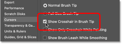 The Show Crosshair in Brush Tip option in Photoshop
