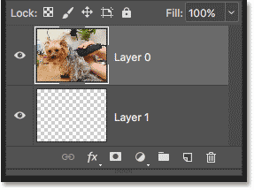 The Layers panel showing that the clipping mask has been released.