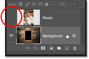 Hiding the top layer and selecting the bottom layer in Photoshop