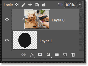 The Layers panel showing the top layer clipped to the bottom layer after creating the clipping mask