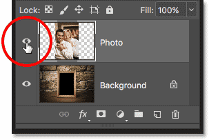 Clicking the visibility icon to show the top layer in the Layers panel