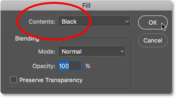 Choosing Black in the Fill dialog box in Photoshop