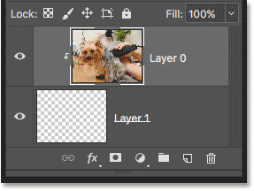 The Layers panel showing the clipping mask, with the top layer clipped to the mask layer below