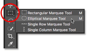 Selecting the Elliptical Marquee Tool from the Toolbar in Photoshop