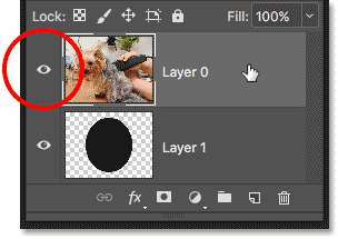 Selecting and turning on the layer that will be clipped by the mask