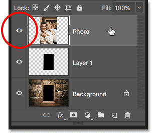 Selecting and turning on the top layer in the Layers panel
