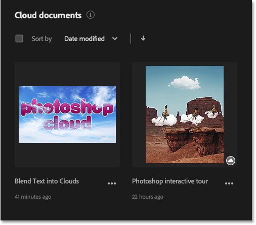 Photoshop's Home Screen showing all cloud documents