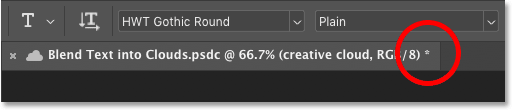 The asterisk in the document tab in Photoshop indicates unsaved changes