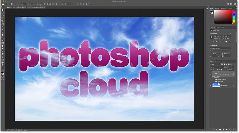 Opening a Photoshop cloud document