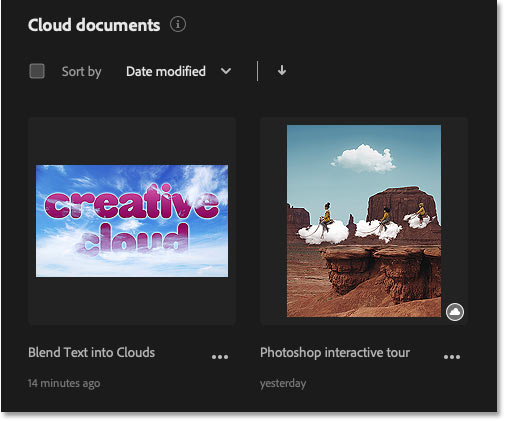 The Home Screen showing that the changes to the Photoshop cloud file have been saved.