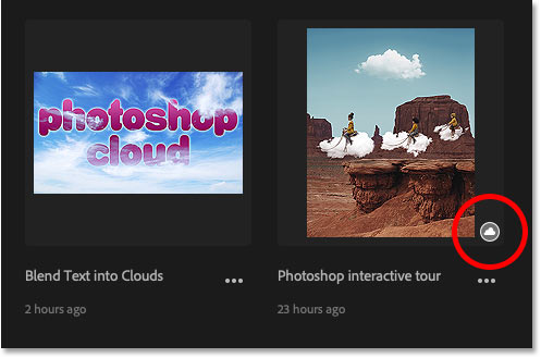 The cloud icon means the Photoshop cloud document has not yet been opened on your local computer