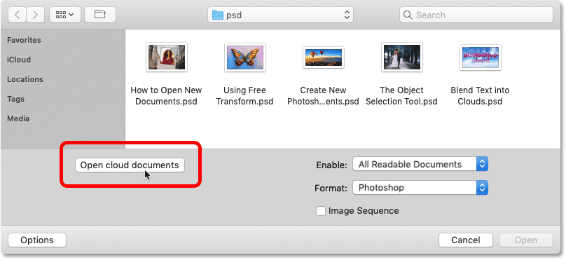 How to open Photoshop cloud documents using the Open command