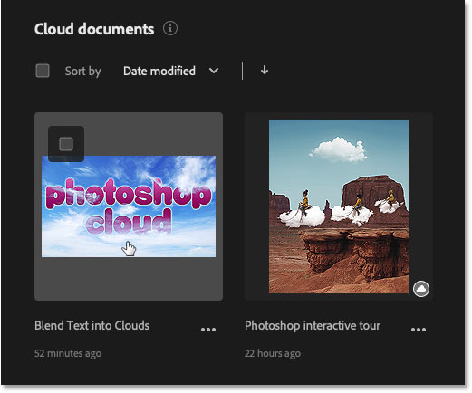 How to open a Photoshop cloud document