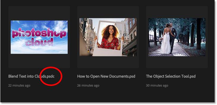 Photoshop cloud documents use a .psdc file extension