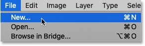 Choosing the New command from the File menu in Photoshop