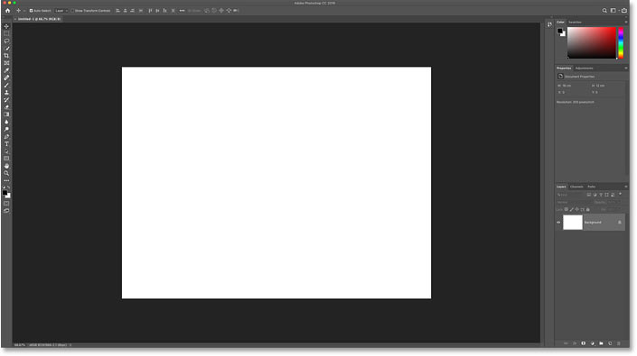 The new Photoshop document.