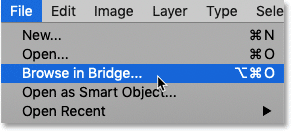 How to open Adobe Bridge from Photoshop