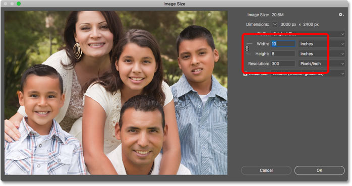 Confirming the new print size in the Image Size dialog box