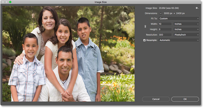 The photo looks distorted after unlinking the Width and Height in Photoshop's Image Size dialog box