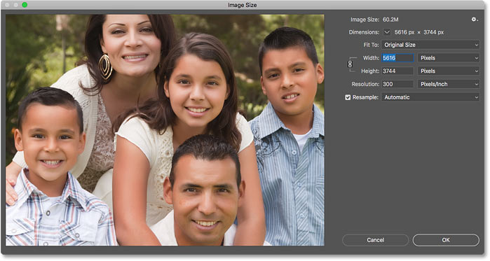 The Image Size dialog box in Photoshop CC