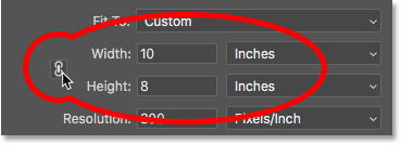Unlinking the Width and Height values and setting them independently for the image