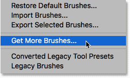 The 'Get More Brushes' command in Photoshop CC 2018