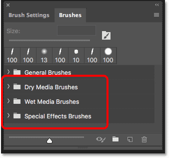 The new brush sets from Kyle T Website in the Brushes panel in Photshop CC 2018
