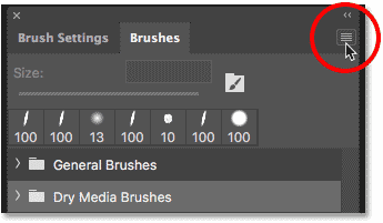 Clicking the Brushes panel menu icon in Photoshop CC 2018