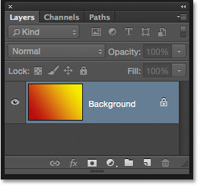The Layers panel showing the gradient on the Background layer.