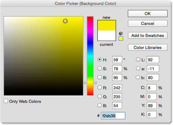 Choosing yellow for the new Background color from the Color Picker.